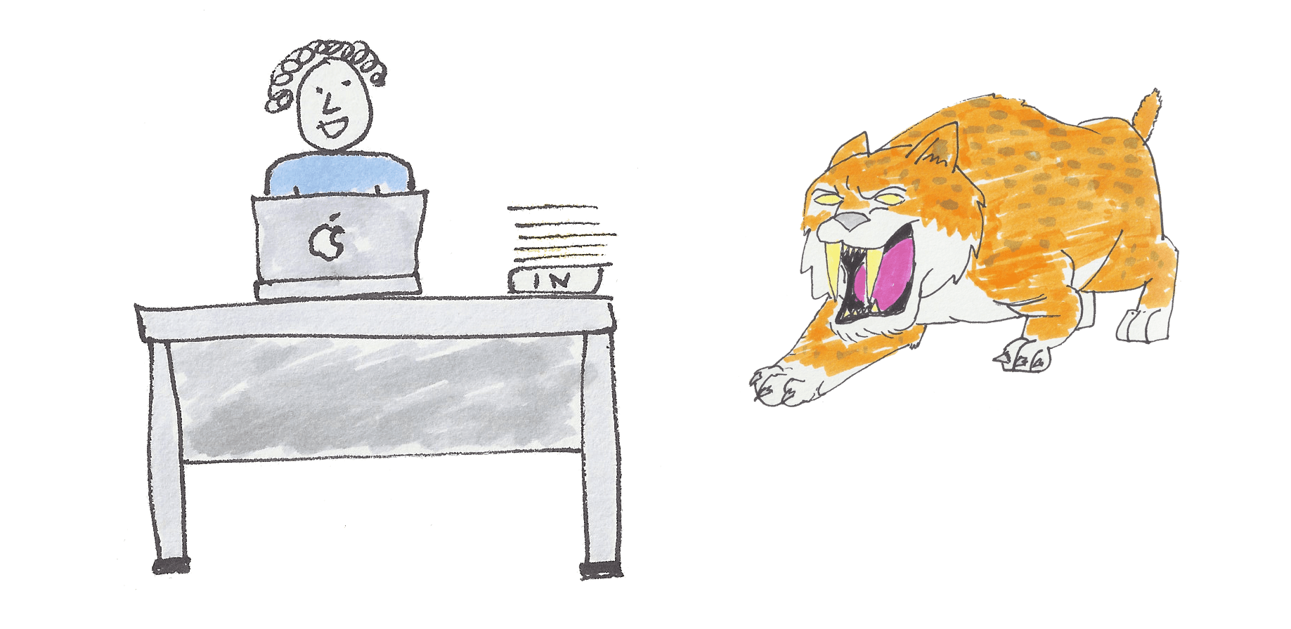 A picture of a sabre toothed tiger in an office